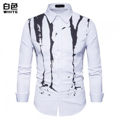2017 New Style Hollow European Color Ink Jet Printed Long Sleeve Lapel Shirt white size s 50 to 58kg