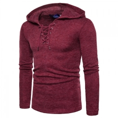 2017 Men's Personality Set Head Wear Rope Thick Sweater Cardigan Sweater Knitted Sweater wine red size m 50 to 58kg