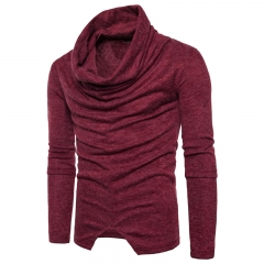 2017 Men's Personality False Pullover Wear Sweater Knitted Sweater wine red size m 50 to 58kg