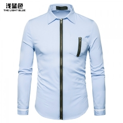 2017 New Pierced Men's Zipper Design Lapel Long Sleeved Shirt light blue size m 58 to 65kg