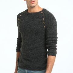 2017 New Men's Buttons Solid Color Long Sleeved Sweater Wild Sweater dark grey size m 50 to 58kg