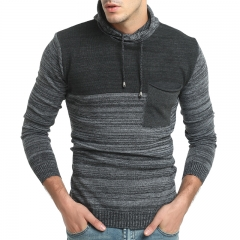 2017 New Male Matching Hat Leisure Long Sleeve Sweater Male Self Cultivation Thick Knit black size m 50 to 58kg
