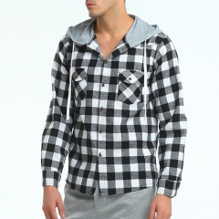 2017 New Men's Fashion Checkered Hat Long Sleeve Cotton Shirt Tide Shirt Coat black size m 50 to 58kg