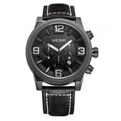 MEGIR 2018 Sport Watch Men Quartz Watches Big Dial Clock Chronograph Leather Wrist Watch 1