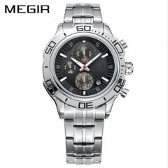 MEGIR 2018 Business Stainless Steel Men Watches Multifunction Chronograph Calendar Wristwatch black