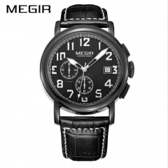 MEGIR 2018 Original Quartz Men Watch Top Brand Luxury Chronograph Sport Watches black