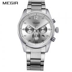 MEGIR 2018 Men Watch Chronograph Military Quartz Watches Stainless Steel Business Wrist Watch type 1