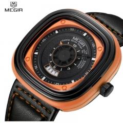 MEGIR 2018 Square Dial Mens Watches Top Brand Luxury Black Leather Strap Quartz Watches orange