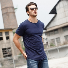 GustOmerD Brand Clothes Fashion Solid Color O-neck  Cotton Short Sleeve Male Casual T-shirts sapphire size xl 72 to 80kg
