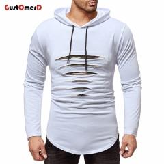 GustOmerD Mens Hoodies Hole Patchwork Camouflage Sweatshirts Slim Fit Casual Long Sleeve Hoodies white size m 50 to 58kg