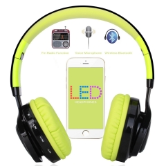 Bluetooth Headset, LED Wireless Stereo Headphones Earphone 4.0 Microphone Foldable TF Card FM Radio Green