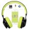 Bluetooth Headset, LED Wireless Stereo Headphones Earphone 4.0 Microphone Foldable TF Card FM Radio Green