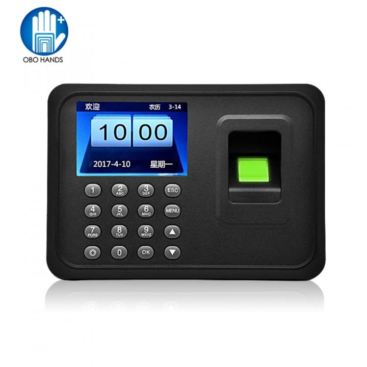 Fingerprint attendance machine finger scanner Time Card locker free software password for security Black One Size