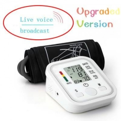 Automatic Digital Blood Pressure Smart Home Upper Arm Blood Pressure Monitor Live Voice White One Size