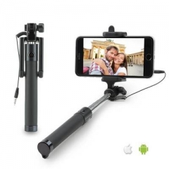 Selfie Stick [Battery Free] Wired Extendable Wired Handheld Monopod Selfie Stick for Android/IOS Black