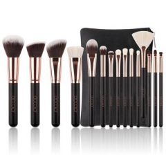 15 PCS Makeup Brush Set Natural Hair Blending Blush Face Powder Brush Make up Brush Kit with bag Black