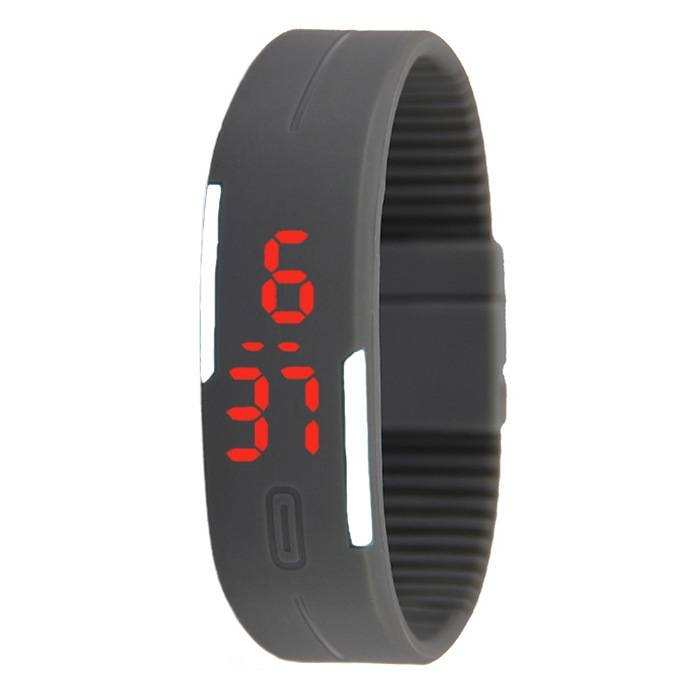 Smart Fashion Cool Kids Men Women's LED Sports Digital Watch Unisex Rubber Silicone Band Watches grey