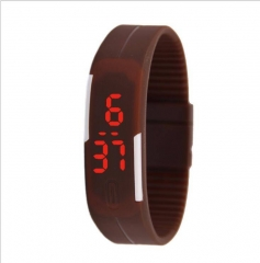 Smart Fashion Cool Kids Men Women's LED Sports Digital Watch Unisex Rubber Silicone Band Watches coffee