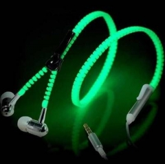 3.5mm Cool Luminous Headphones Earphones Headset Zipper In-Ear Headphone with Mic green