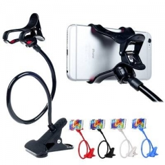 Plastic Flexible Long Arms Gooseneck Clip Clamp Stand Universal Cell Phone Holder black