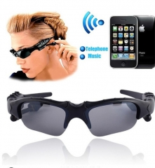 Wireless Motorcycle Bike Cycle Glasses Bluetooth MP3 Sun Glasses Headset For Cell mobille Phone black one size