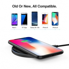 iPhone X Samsung Galaxy S8+ S7 S6 Plus edge Fast Qi Wireless Charger Charging Pad for iPhoneX More black one size
