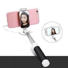 Mini Portable Extendable Wired Selfie Stick Cable Mirror Autodyne Artifact For Smart Phone pink