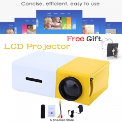 LCD Projector HD 1080P Portable Home Theather Cinema Audio HDMI USB Projector Video Media Player Yellow one size