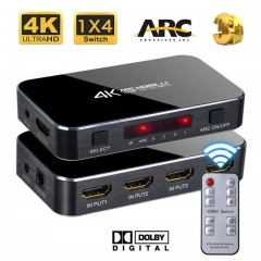 HDMI Splitter Switch 2.0 4K HDMI 2.0 Switch 4x1 4 In 1 Out HDMI Switch Audio Extractor With ARC black
