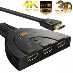 3D Mini 3 Port HDMI Switch 1.4b 4K Switcher HDMI Splitter 1080P 3 in 1 out Port Hub for DVD TV PC 4K