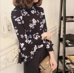 2017 Autumn  Chiffon Blouse Women Tops Flare Sleeve Shirt Women Ladies Office Blouse Korean Tops black s