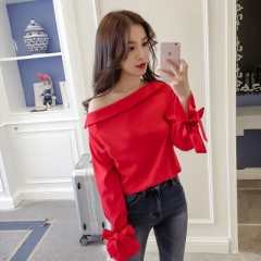 2017 Autumn New Fashion Off Shoulder Top Women Casual Blouses  Streetwear With Bow red one size