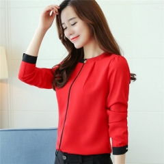 2017 Autumn long sleeved chiffon blouse Elegant Slim Office lady shirt Fashion women shirts red xl