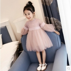 2017 New Dresses For Girls Cute Lace Solid  Ball Grown Party Princess Baby Kids Clothes pink 100cm