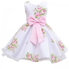 2017 New style summer baby girl print flower girl dress for wedding girls party dress with bow dress pink 90cm