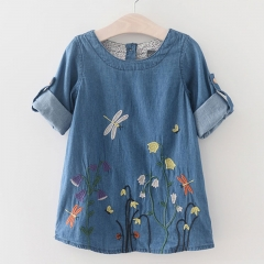 2017 Hot  Girls Denim Dress Children Clothing Casual Style Girls Clothes Butterfly Embroidery Dress blue 100cm
