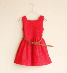 2017 Summer Lace Vest Girls Dress Baby Girl Princess Dress  Children Clothes Kids Party Clothing red 110cm