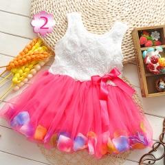 2017 Summer Baby Girl Dress Kids Baby Girls Clothing Dresses Beautiful Flower Dress rose red 70cm
