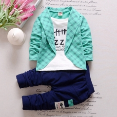 2017 Fashion Boys Formal Clothing Kids Attire For Boy Clothes Plaid Suit In September Toddler Suit light green 80cm