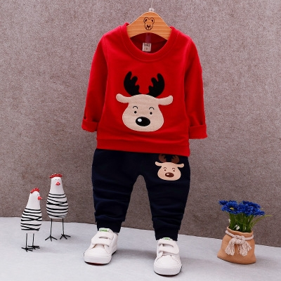 Christmas Costume Autumn Long Sleeve Boys Clothing Sets Fashion Elk Kids Clothes for Boys red 80cm