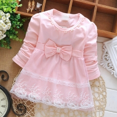 Newborn Spring Long Sleeve pearl Lace Bow Baby Party Birthday elsa kids Children Cotton dresses pink s