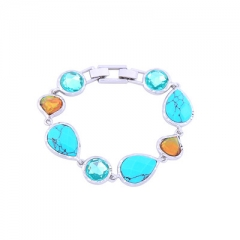2017 Fashion Blue Stone Heart Style Crystal Bracelet  Charm Bracelets Christmas Gift Silver Color as picture one size