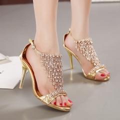 2017 Summer Women's Luxury Rhinestones Sandals Sexy Elegant Thin High Heels Wedding Party Shoes gold uk2.5
