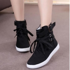 2017 Hot Round Toe Platform High-top Canvas Buckle Shoes Woman Lace Up boots Student Flat Boots black uk3