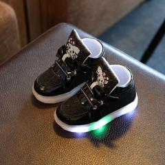 2017 New Spring  Children's Sneakers Chaussure Enfant Hello Kitty Girls Flat Shoe With LED Light black uk5.5