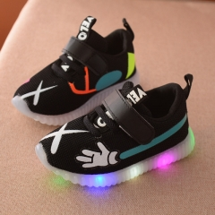 2017 Breathable sneakers shoes children Casual boys and girls luminous lighting glowing LED shoes black uk5.5