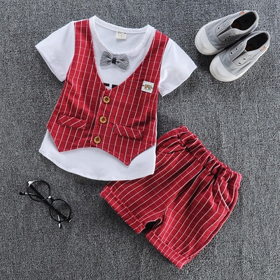 2017 Hot Boys summer clothes sets children letter T-shirt pants kids handsome suits red s