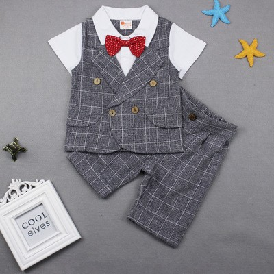 2017  Handsome Boys Gentleman Suit 2PCS Children's Formal Occasion Clothing Set Kids Wedding Party grey 80cm
