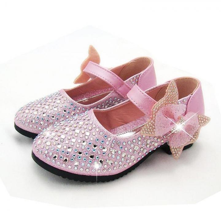 New Princess Children Princess Sandals Kids Girls Wedding Shoes Dress Shoes Girls Party Shoes pink uk9