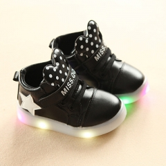 Girls LED lighted Sneakers Children Cartoon Boots For Girls Boys Kids Casual Shiny Stars Soft Shoes black uk5.5